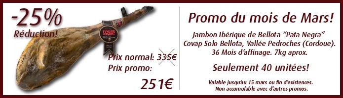 Jambons Pata Negra Bellota avec un 25% reduction