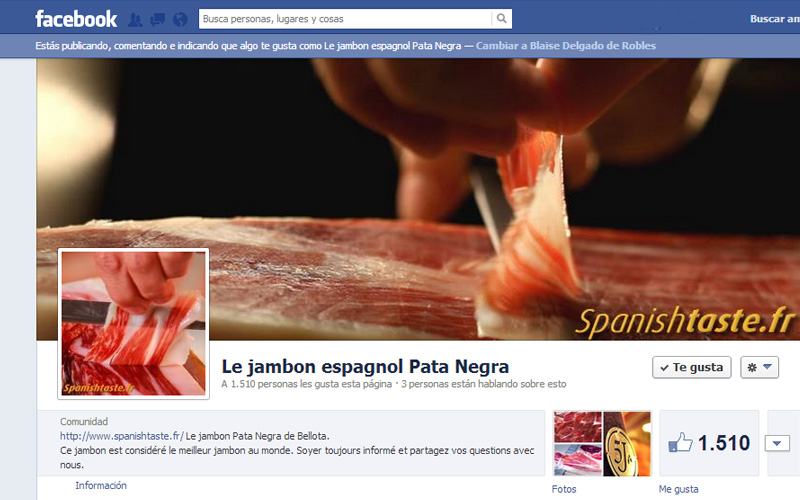 Le jambon Pata Negra sur facebook